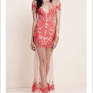 NWOT For Love & Lemons XS Red Luau Maxi Dress